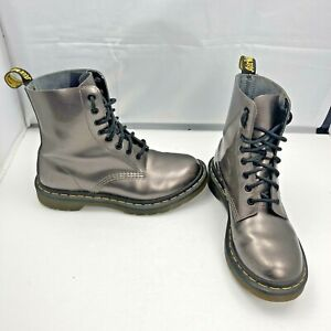 Dr Martens Pascal Pewter Metallic Patent Leather Combat Boots Womens UK 5 US 7