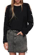 NEW ALLSAINTS Suzie Jumper Snap Sleeve Sweater - Black - XS