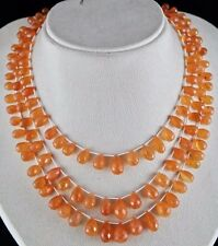3 LINE 415 CTS ORANGE CARNELIAN FACETTED DROPS GEMSTONE BEADS NECKLACE
