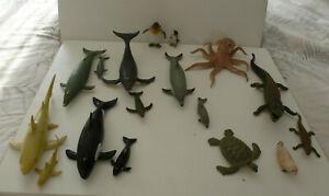 18 AAA SEA WATER CREATURES ANIMALS LARGE PLASTIC BUNDLE & BABIES WHALES