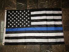 3x5 Embroidered Sewn USA Police Thin Blue Line 300D Nylon Flag 3'x5'