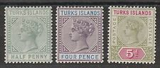 TURKS ISLANDS 1893 QV SET 1/2D - 5D