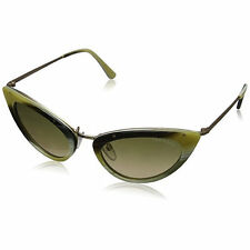 Tom Ford Grace Womens FT0349-64J Sunglasses Cat Eye Mirrored Horn Warm Grey