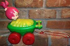 "VTG Pebbles Irwin 1960's Pull Toy Rare string The Flintstones 8"" x 9"" antique dc"