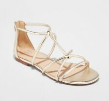 Womens Gladiator Sandals Open Toe Zip Heel A New Day Color Gold Size 7