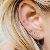 4pcs Cute Moon Star Heart Ear Stud Earrings Women's Silver Plated Jewelry Set LJ