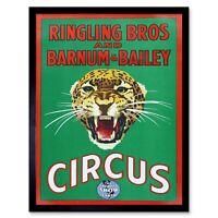 Circus Ringling Bros Barnum Bailey Show Jaguar Cat 12X16 Inch Framed Art Print