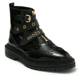 Burberry Everdon Women's Leather Wingtip Ankle Boots Black Size 37.5  / US 7.5