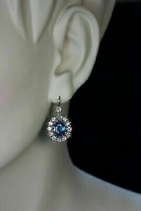 2 Ct Oval Cut Tanzanite Diamond Cluster Halo Hoops Earrings 14k Yellow Gold Over