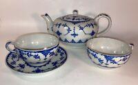 Vintage Blue & White Porcelain Tea Pot Made in Japan w/ 2 Cups &1 Saucer