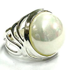 ART NOUVEAU STYLE PEARL RING STERLING SILVER 925 7