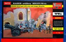 BUM Models 1/72 GERMAN WWI KRUPP FH-13 GUN w/CREW & BICYCLE TROOPS Figure Set