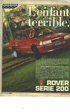 PUBLICITE ADVERTISING   1981   ROVER 216  série 200   l'enfant terrible!!!!