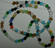 """Celestial Crystal 16-facet, Mixed Colors, 4mm Faceted Bicone Beads, 16"""" Strand"""