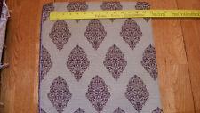 Beige Plum Print Brocade Upholstery Fabric Remnant  F501