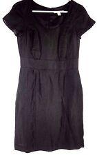 5470662cc74 Banana Republic Women Dress Size 2 High Waist Petite Short Sleeve Black  Linen