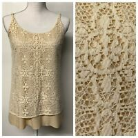 CAbi Cream Crochet Lace Overlay It Girl Cami Tank Top Boho Festival Womens S 798