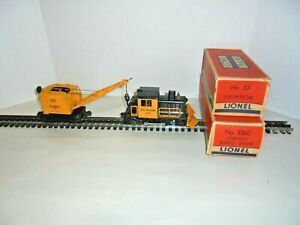 LIONEL 53, 3360 POWER UNITS SNOW PLOW AND BURRO CRANE WITH OUTER BOXES O GAUGE