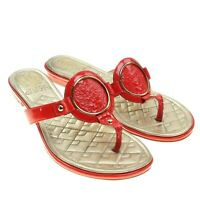 VINCE CAMUTO Braida Womens Red Patent Leather Signature Logo Thong Sandals Sz 6M