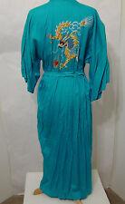 Vintage Teal Kimono Robe Dragon Embroidered EDIE ADAMS XL