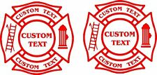 FiRE DEPT Vinyl Decal- Custom Firefighter Fireman Patch window sticker 2-set