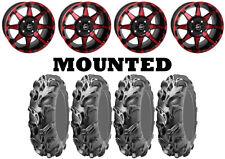Kit 4 ITP Mega Mayhem Tires 27x9-14/27x11-14 on STI HD6 Red Wheels IRS