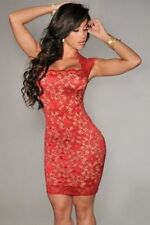 Vestiti da donna stretch rosso senza maniche