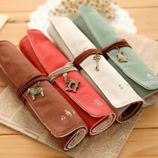 Vintage Canvas Roll Up Pencil Case Pen Bag Cosmetic Makeup Brush Bags Fashion