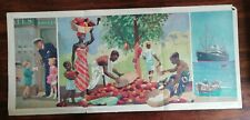 More details for rare vintage child education 1947 - fold out poster  the story of chocolate