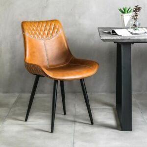 Stanton Vintage Tan Brown Faux Leather Dining Chair- Dining Chair- STANTON-TAN