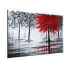 Hand-painted Oil Paintings Modern Abstract Landscape Red Tree Wall Art No Frame