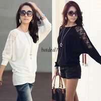 Fashion Women's Batwing Dolman Lace Loose T-Shirt Blouse Long Sleeve Tops Shirt