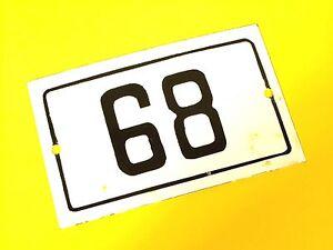 Vtg European Porcelain Enamel House Door Number 68 Metal Sign White&Black 1950's
