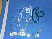 Vintage Costume Jewelry: Blue Mother Pearl Glass Necklaces, Bracelet 8p Lot JH16