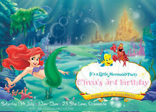 Ariel Little Mermaid Girl's Birthday Invitations Any Age Printable