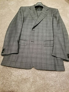CANALI Gray Glen Plaid 2 Button Suit 44R 44 R Made in Italy