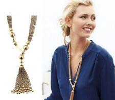 Fashion Tassels Women Bib Choker Pendant Statement Collar Long Necklace Chain