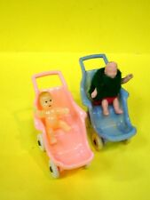 Vintage Acme Hard Plastic Blue & Pink Strollers w/Babys-made in Usa 1960s