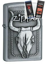 Zippo 20286 barrett-smyth bull skull Lighter with *FLINT & WICK GIFT SET*