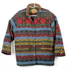 Vintage Woolrich Mens Medium Southwest Wool Leather Blanket Jacket Coat Floral