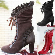 Women Ladies Vintage Lace Up Boots Chunky Block Mid Calf Victorian Gothic Shoes