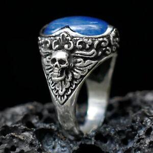 Retro Boho 925 Silver Moonstone Skull Ring Female Men's Party Jewelry Size 6-11