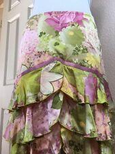 Betsey Johnson NY•Silk•Tiered Ruffles•Ribbon Trim•Floral•GORG Pink Green Skirt 6