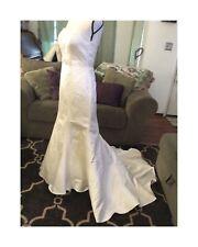 DAVIDS BRIDAL Ivory WEDDING Mermaid DRESS Strapless Short Train size 8