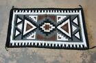 Vintage Hand-Woven Navajo Rug in Black, White, Brown, and Gray, Circa 1950s