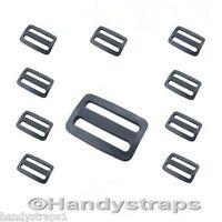 10 x 3 Bar Slides Buckles for 25m Webbing Black Plastic