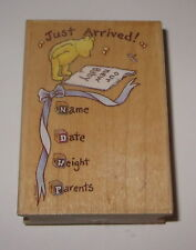 Just Arrived Rubber Stamp Winnie Pooh Baby Name Date Weight Parents Announcement
