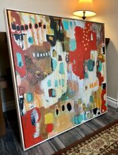 Large Framed Abstract Painting On Canvas