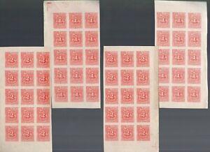 Salvador 1896 Postage Due 1c-2c, 2 Sets of Imperf Blocks of 15 MNH