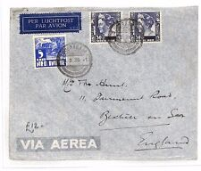 BF203 1936 DUTCH EAST INDIES Soerabaja GB Sussex Airmail Cover